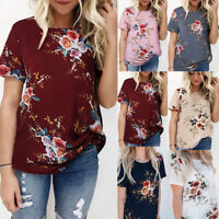 Women Short Sleeve Floral Printing Blouse Casual Loose T Shirt P