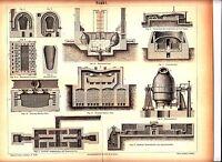 1890 OLD COTTON SPINNING MACHINE Antique Engraving Print