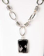 New Avon BLACK ONYX Rectangular Faceted Necklace & Hoop Earring Gift Set