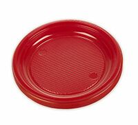 "20, 40, 60, 80, 100, 200 x Red Disposable 6.5"" Inch Plastic Food Dessert Plates"
