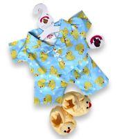Teddy Bear Clothes fit Build a Bear Teddies Clothing Blue Duck PJ's & Slippers