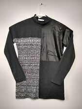 Milan Kiss Black Grey Blouse Sweater knit leather like. Stretch lightweight sz M