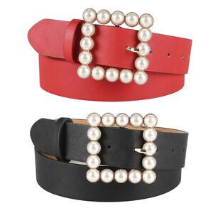 Chic Womens Leather Waist Belt Adjustable Pearl Buckle Causal  Belt