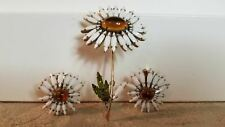 Schreiner New York Daisy flower brooch & earrings
