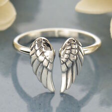 Sterling Silver Angel Wing Ring Steampunk Goth Adjustable UK Sz J K L M N O P