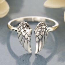 Sterling Silver Angel Wing Ring Steampunk Goth Adjustable UK Sz J K L M N O P 60