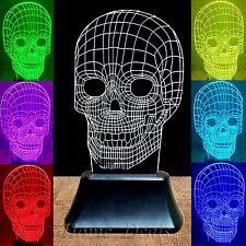 7 Color Changing 3D LED Illuminated Skull Illusion Light Sculpture Desk Lamp