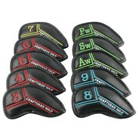 Craftsman Golf 10pcs Black Pu Leather Iron Head covers set Headcovers with No.