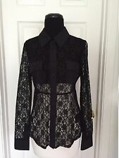 NWT GUESS by MARCIANO ANTONIA LONG SEEVE LACE TOP BLACK SIZE M