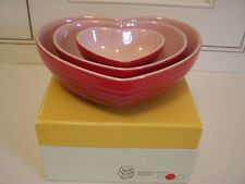 Le Creuset Stoneware Nesting Heart Dish, Set of 3, Cherry Red/Pink, New in box