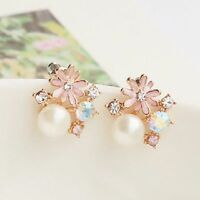 pink daisy and white pearl stud earrings w/ crystal 60s retro multiple choices