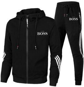Boss1 Herren Trainingsanzug Hoodie + Trainingshose Freizeit Jogging Sport Anzug