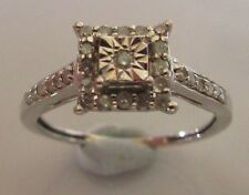 Secondhand 9ct White Gold Multi Diamond Square Cluster Ring Size I