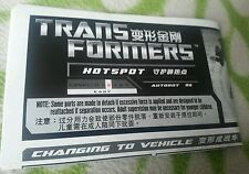 TRANSFORMERS GENERATIONS HOT SPOT INSTRUCTION BOOKLET ONLY