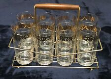 Drinking Glasses Set of 8 with Carrier Gold Clear Vintage Retro Regency  JAN2020