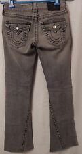 Ladies TRUE RELIGION Faded Grey Disco Joey Flare Crystal Jeans Size 25 x 30.5