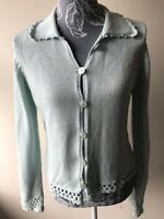 Per Una Womens Cardigan Size 14 Light Blue Collared Cotton Blend Long Sleeved