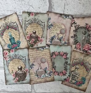 Vintage Perfume Bottle Card Toppers, Gift Tags Craft Make Your Own Cards Shabby