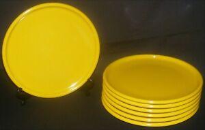 "7 SRO Texas Ware Yellow Melamine Salad Dessert Plates 7 3/4"""