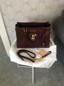 Michael Kors Nouveau Hamilton Leather Bag (Colour Barolo)