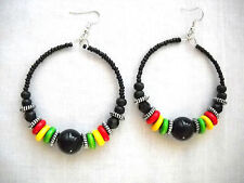 NEW BLACK w RED GREEN YELLOW RASTA COLORS WOOD & SEED BEAD HOOP DANGLE EARRINGS