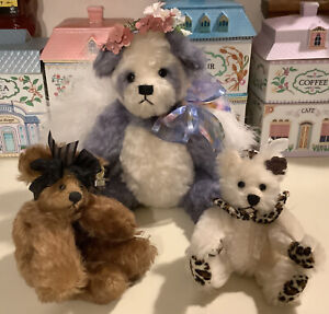 Set of 3 ANNETTE FUNICELLO MOHAIR TEDDY BEAR,  FELICITY angel panda, GIA & CHLOE
