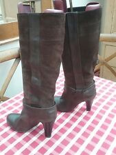 Jane Shilton Dark Brown Knee High Leather / Suede  Boots Size 37 /4