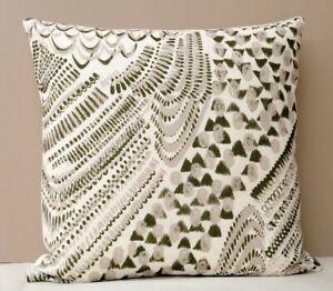 Imogen Heath Designer Cushion Cover Starling Feather Pattern Olive Green & Cream