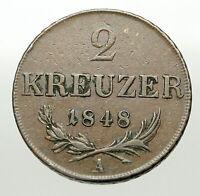 1848 A AUSTRIA KING FRANZ JOSEPH I Eagle Genuine Austrian 2 Kreuzer Coin i84912