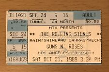 1989 THE ROLLING STONES GUNS N' ROSES 10/21/89 LOS ANGELES CONCERT TICKET STUB A