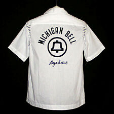 Vintage MICHIGAN BELL TELEPHONE ByaBeers White OLYMPIAN Bowling Shirt 1970s M
