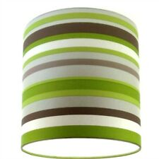 Lampshade Handmade from Green Silver Taupe Off White Stripe Wallpaper 20cm/8""