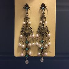 NWT Pearl Aquamarine Turquoise Heart Chandelier Crystal Earrings Bronze Vintage