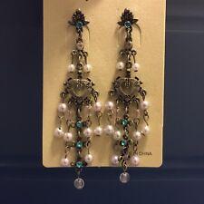 Chandelier Crystal Earrings Bronze Vintage Nwt Pearl Aquamarine Turquoise Heart