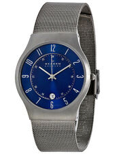Skagen 233XLTTN Men's Grenen Blue Dial Titanium and Gray Steel Mesh Band Watch
