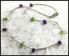 VINTAGE QT .925 Sterling Silver, Amethyst, Peridot & Aquamarine Beaded Necklace