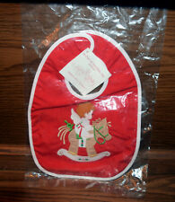 Christmas Baby Bib Angel on Rocking Horse Red NWOT