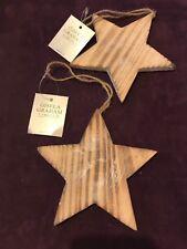 Gisela Graham Christmas Hanging Tree Decorations x 2 Wooden Stars NEW