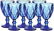 6pcs Blue Diamond Glass Wine/Water/Beverage Drinkware Glasses/Goblet/Tumbler