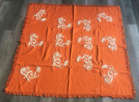 "VTG MID CENTURY Orange Tablecloth Paisley Floral Embroidery Fringe  52"" X 52"""