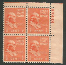 Scott#: 803 - Benjamin Franklin Plate Block of 4 Mnh Og - Free Shipping -
