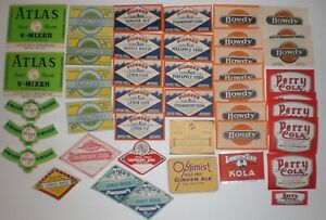 Soda Bottle Paper Label Vintage Lot Pioneer Perry Cola Howdy Donner Oakland