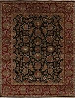 BLACK Agra Oriental Area Rug Hand-Knotted Wool All Over Floral NEW Carpet 8 x 10