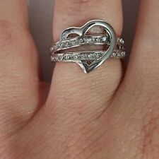New Women's Jewelry  Silver Tone Forever In Love Heart Buckle Ring Ladies Size 7