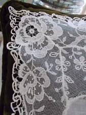 Antique French Brussels Needle Lace Wedding Handkerchief Floral Spider Tatted
