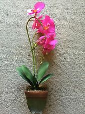 New Artificial Orchid Plant Real Touch Pink In Moss&Soil Flower In Pot 60cm Tall