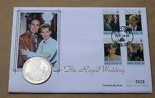 Matrimonio reale Edward Sophie 1999 MERCURIO COVER CON Turks & Caicos 5 CORONE Coin
