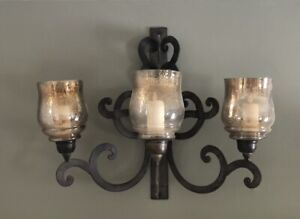 Pottery Barn Iron Scrollwork Wall Sconce W Glass Shades Hurricane Candle Holder