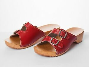 Women's Sandals Natural Leather Slip On Wood Clogs Size 3-8 Slippers Red Sliders