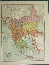 1904 ANTIQUE MAP ~ TURKEY IN EUROPE GREECE SERVIA BULGARIA ROUMANIA BOSNIA